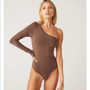 Clyque Chocolate Brown One Shoulder Bodysuit